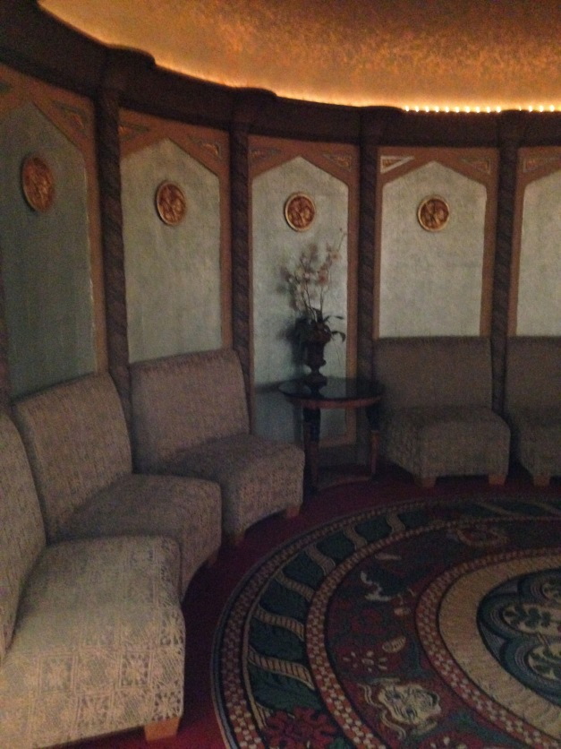 The Room of the Moderns, a lounge off of the balcony lobby. The room is round and has a parabolic ceiling so any sound stays in the room. Quite the heavy petting spot back in the day.